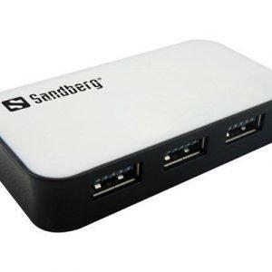 Sandberg Usb 3.0 Hub 4 Ports 4-nastainen Usb Tyyppi A Naaras 4-nastainen Usb Tyyppi A Naaras Valkoinen Mustalla