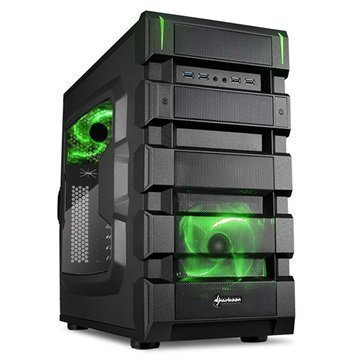 Sharkoon BD28 Mid Tower ATX PC-Kotelo Musta / Vihreä