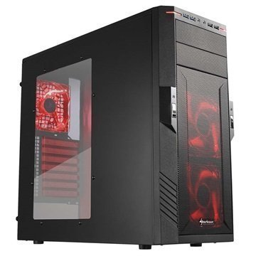 Sharkoon T28 Mid Tower ATX PC-Kotelo Musta / Punaine