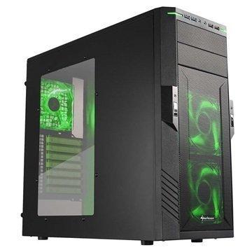Sharkoon T28 Mid Tower ATX PC-Kotelo Musta / Vihreä