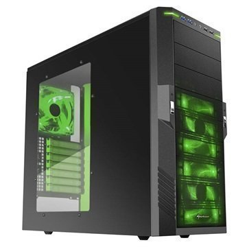 Sharkoon T9 Value Mid Tower ATX PC Case Musta / Vihreä