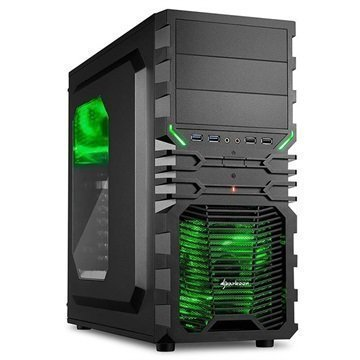 Sharkoon VG4-W Mid Tower ATX PC-Kotelo Musta / Vihreä