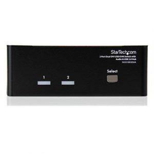 Startech 2 Port Dual Dvi Usb Kvm Kytkin W/ Audio & Usb Hubi