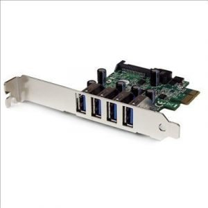 Startech 4 Port Pci Express Pcie Superspeed Usb 3.0 Controller Card Adapter With Sata Power