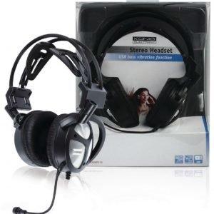 Stereo headset USB & bassovärinätoiminto
