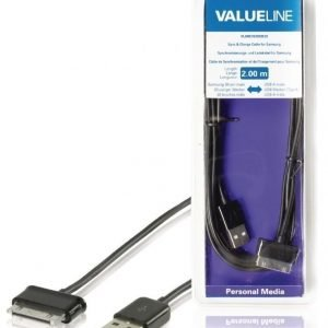 Synkronointi- ja latauskaapeli Samsungille 30-napainen uros - USB A uros musta 2 00 m
