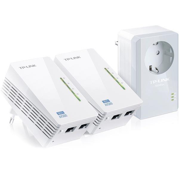 TP-LINK AV500 Powerline 2-porttiia WiFi Extender 3-pak 500Mbps valk