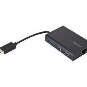 Targus Usb 3.0 Hubi Jossa On Gigabit Ethernet Portti 4-nastainen Usb Tyyppi A Uros 4-nastainen Usb Tyyppi A Rj-45 Naaras Musta 0.1m