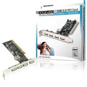 USB 2.0 PCI-kortti 4+1 väylä