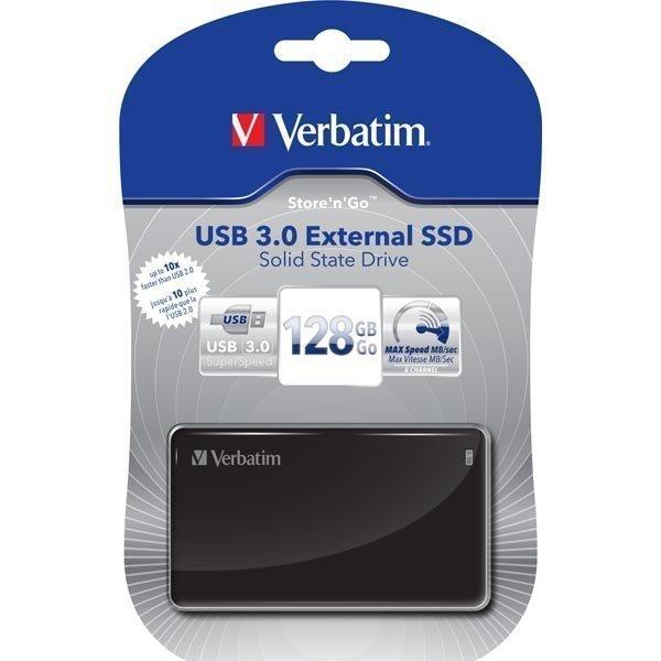 Verbatim Store'n'Go ulkoinen SSD 128GB USB 3.0 musta
