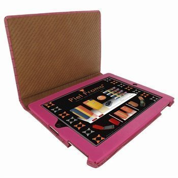 iPad 2 Piel Frama Magnetic Closure Nahkakotelo Crocodile Fuchsia Verenpunainen