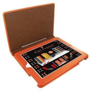 iPad 2 Piel Frama Magnetic Closure Nahkakotelo Oranssi