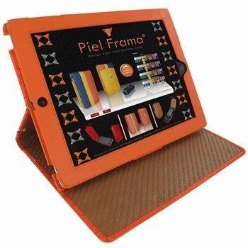 iPad 2 iPad 3 iPad 4 Piel Frama Cinema Nahkakotelo Crocodile Oranssi