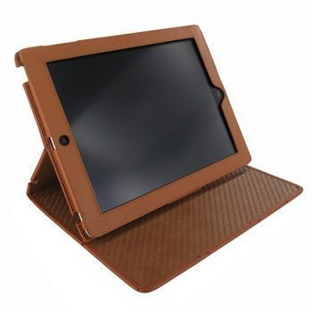iPad 2 iPad 3 iPad 4 Piel Frama Cinema Nahkakotelo Ostrich Ruskea