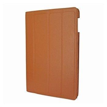 iPad 3 Piel Frama Nahkainen Smart-Kotelo Keltaisenruskea