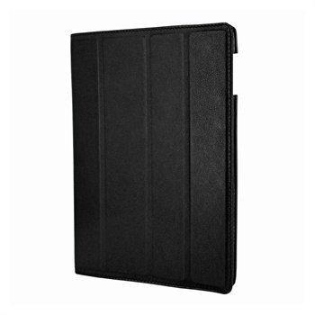 iPad 3 Piel Frama Nahkainen Smart-Kotelo Musta