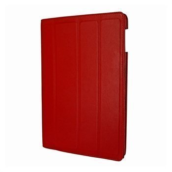 iPad 3 Piel Frama Nahkainen Smart-Kotelo Punainen