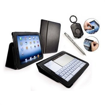 iPad 3 iPad 4 Tuff-Luv Type-View Leather Case Black