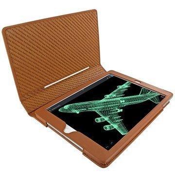 iPad Air 2 Piel Frama Folio Style Nahkakotelo Kellanruskea
