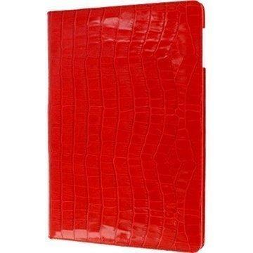 iPad Air Piel Frama Cinema Nahkakotelo Krokotiili Punainen