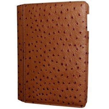 iPad Air Piel Frama Lompakkomallinen Nahkakotelo Strutsi Ruskea