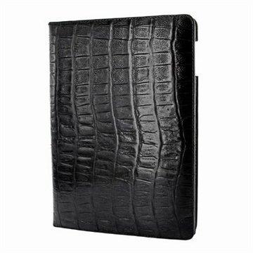iPad Air Piel Frama Lompakkomallinen Nahkakotelo Villi Krokotiili Musta