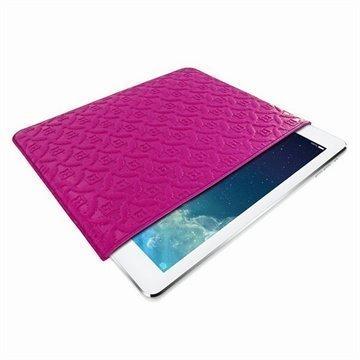 iPad Air Piel Frama Pull Nahkakotelo Fuchsia