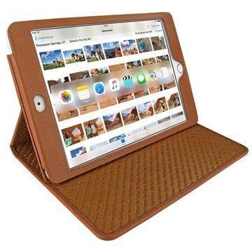 iPad Mini 4 Piel Frama Cinema Nahkakotelo Kellanruskea