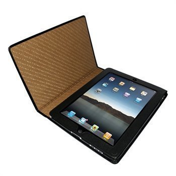 iPad Piel Frama Magnetic Closure Crocodile Nahkakotelo Musta