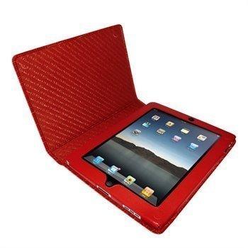 iPad Piel Frama Magnetic Closure Crocodile Nahkakotelo Punainen