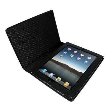 iPad Piel Frama Magnetic Closure Nahkakotelo Musta