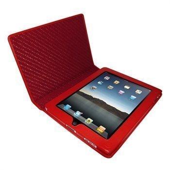 iPad Piel Frama Magnetic Closure Nahkakotelo Punainen