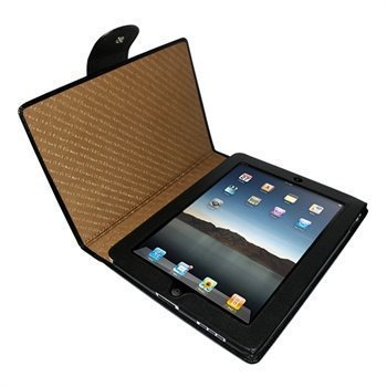 iPad Piel Frama Snap Closure Crocodile Nahkakotelo Musta