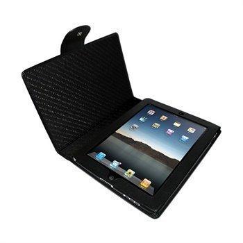 iPad Piel Frama Snap Closure Nahkakotelo Musta