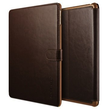 iPad Pro 9.7 VRS Design Layered Dandy Series Foliokotelo Tummanruskea / Ruskea